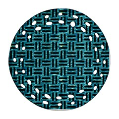 Woven1 Black Marble & Blue Green Water (r) Round Filigree Ornament (two Sides)