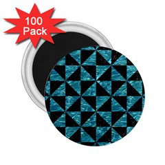 Triangle1 Black Marble & Blue Green Water 2 25  Magnet (100 Pack)