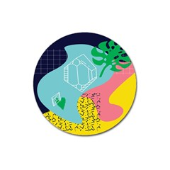 Behance Feelings Beauty Waves Blue Yellow Pink Green Leaf Magnet 3  (round)