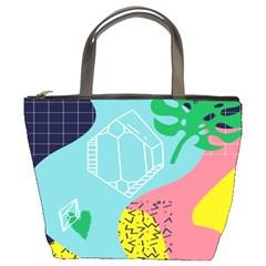 Behance Feelings Beauty Waves Blue Yellow Pink Green Leaf Bucket Bags