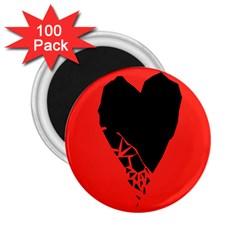 Broken Heart Tease Black Red 2 25  Magnets (100 Pack)
