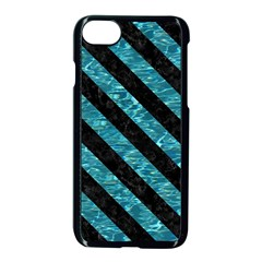 Stripes3 Black Marble & Blue Green Water (r) Apple Iphone 7 Seamless Case (black)