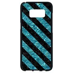 Stripes3 Black Marble & Blue Green Water (r) Samsung Galaxy S8 Black Seamless Case