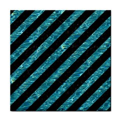 Stripes3 Black Marble & Blue Green Water Face Towel
