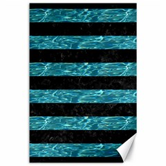 Stripes2 Black Marble & Blue Green Water Canvas 24  X 36