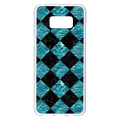 Square2 Black Marble & Blue Green Water Samsung Galaxy S8 Plus White Seamless Case