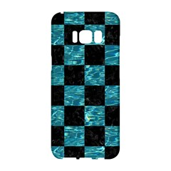 Square1 Black Marble & Blue Green Water Samsung Galaxy S8 Hardshell Case