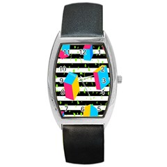 Cube Line Polka Dots Horizontal Triangle Pink Yellow Blue Green Black Flag Barrel Style Metal Watch