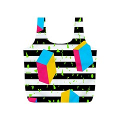 Cube Line Polka Dots Horizontal Triangle Pink Yellow Blue Green Black Flag Full Print Recycle Bags (s)