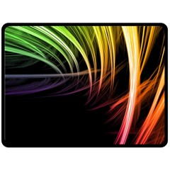 Colorful Abstract Fantasy Modern Green Gold Purple Light Black Line Double Sided Fleece Blanket (large)