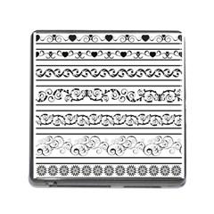 Black White Decorative Ornaments Memory Card Reader (square)