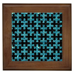 Puzzle1 Black Marble & Blue Green Water Framed Tile