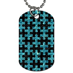 Puzzle1 Black Marble & Blue Green Water Dog Tag (one Side)
