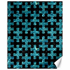 Puzzle1 Black Marble & Blue Green Water Canvas 16  X 20