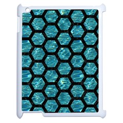 Hexagon2 Black Marble & Blue Green Water (r) Apple Ipad 2 Case (white)