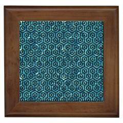 Hexagon1 Black Marble & Blue Green Water (r) Framed Tile