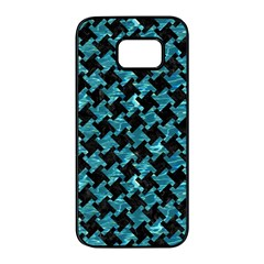 Houndstooth2 Black Marble & Blue Green Water Samsung Galaxy S7 Edge Black Seamless Case