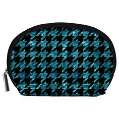 Houndstooth1 Black Marble & Blue Green Water Accessory Pouch (large)
