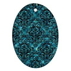 Damask1 Black Marble & Blue Green Water (r) Oval Ornament (two Sides)