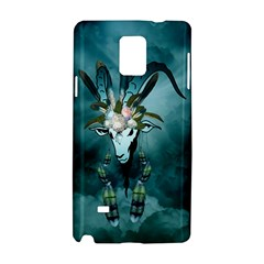 The Billy Goat  Skull With Feathers And Flowers Samsung Galaxy Note 4 Hardshell Case