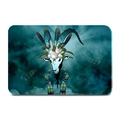 The Billy Goat  Skull With Feathers And Flowers Plate Mats
