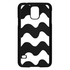 Lokki Cotton White Black Waves Samsung Galaxy S5 Case (black)