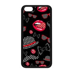 Lip Hat Vector Hipster Example Image Star Sexy Black Red Apple Iphone 5c Seamless Case (black)