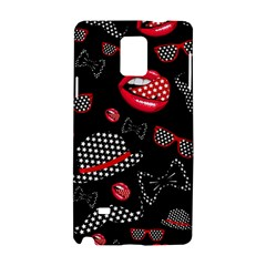 Lip Hat Vector Hipster Example Image Star Sexy Black Red Samsung Galaxy Note 4 Hardshell Case