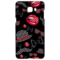 Lip Hat Vector Hipster Example Image Star Sexy Black Red Samsung C9 Pro Hardshell Case