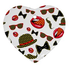 Lip Hat Vector Hipster Example Image Star Sexy Heart Ornament (two Sides)