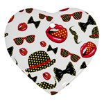 Lip Hat Vector Hipster Example Image Star Sexy Heart Ornament (Two Sides) Front
