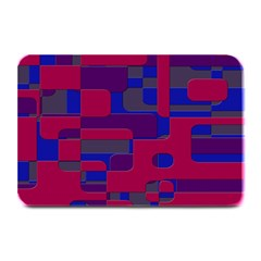 Offset Puzzle Rounded Graphic Squares In A Red And Blue Colour Set Plate Mats