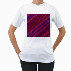 Maroon Striped Texture Women s T Shirt (white) (two Sided)