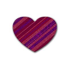 Maroon Striped Texture Heart Coaster (4 Pack)