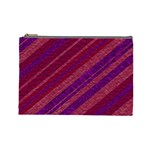 Maroon Striped Texture Cosmetic Bag (Large)  Front