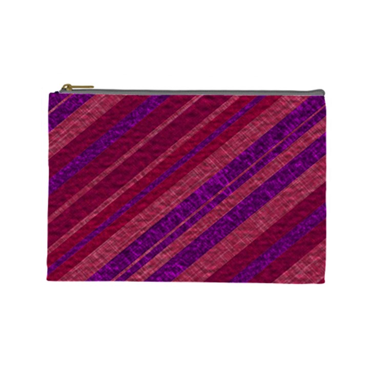 Maroon Striped Texture Cosmetic Bag (Large)