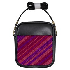 Maroon Striped Texture Girls Sling Bags
