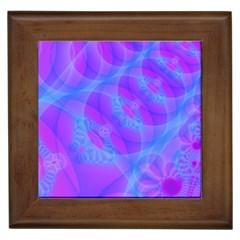 Original Purple Blue Fractal Composed Overlapping Loops Misty Translucent Framed Tiles