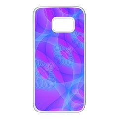 Original Purple Blue Fractal Composed Overlapping Loops Misty Translucent Samsung Galaxy S7 White Seamless Case