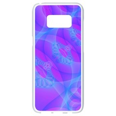 Original Purple Blue Fractal Composed Overlapping Loops Misty Translucent Samsung Galaxy S8 White Seamless Case