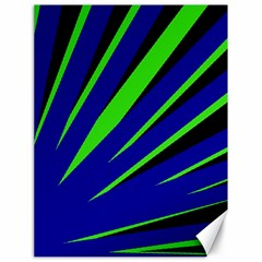 Rays Light Chevron Blue Green Black Canvas 18  X 24