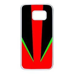 Rays Light Chevron Green Red Black Samsung Galaxy S7 White Seamless Case