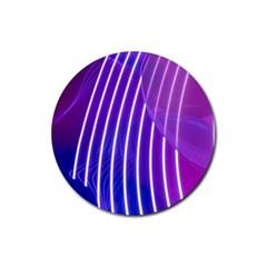 Rays Light Chevron Blue Purple Line Light Rubber Round Coaster (4 Pack)