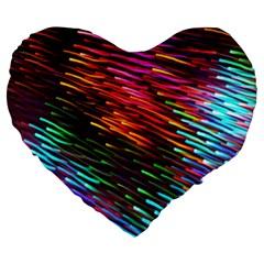 Rainbow Shake Light Line Large 19  Premium Flano Heart Shape Cushions