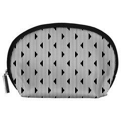 Stripes Line Triangles Vertical Black Accessory Pouches (large)