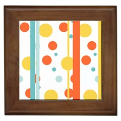 Stripes Dots Line Circle Vertical Yellow Red Blue Polka Framed Tiles