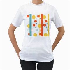 Stripes Dots Line Circle Vertical Yellow Red Blue Polka Women s T Shirt (white) (two Sided)