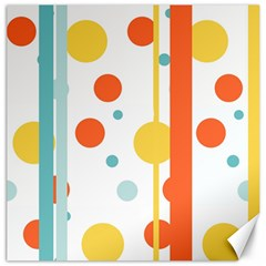 Stripes Dots Line Circle Vertical Yellow Red Blue Polka Canvas 20  X 20