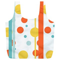 Stripes Dots Line Circle Vertical Yellow Red Blue Polka Full Print Recycle Bags (l)