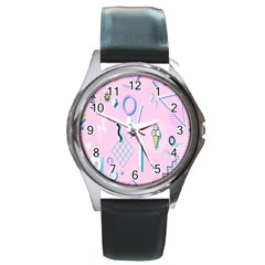 Vintage Unique Graphics Memphis Style Geometric Round Metal Watch